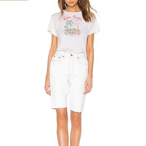 Re/done The 80s Long Shorts in Bleached White NEW